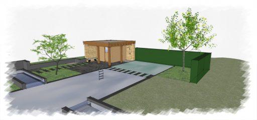 Impressie sauna bij zwemvijver